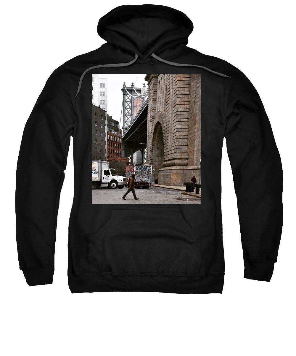 Bridge Sweatshirt featuring the photograph A Man And A Bridge by Aya Edlin