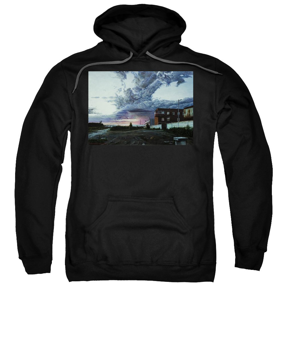 Sky. Clouds. Sunset. A Building With Brick Walls. Outskirts Of The Big City. Forest. Road. Concrete Fence. Philosophy. Sweatshirt featuring the painting A Null Vector by Roman Povoroznyuk
