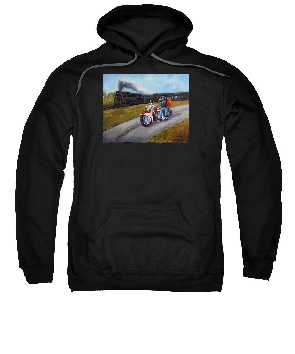 Jan Holman Paintings Sweatshirt featuring the painting A Race In Time by Jan Holman