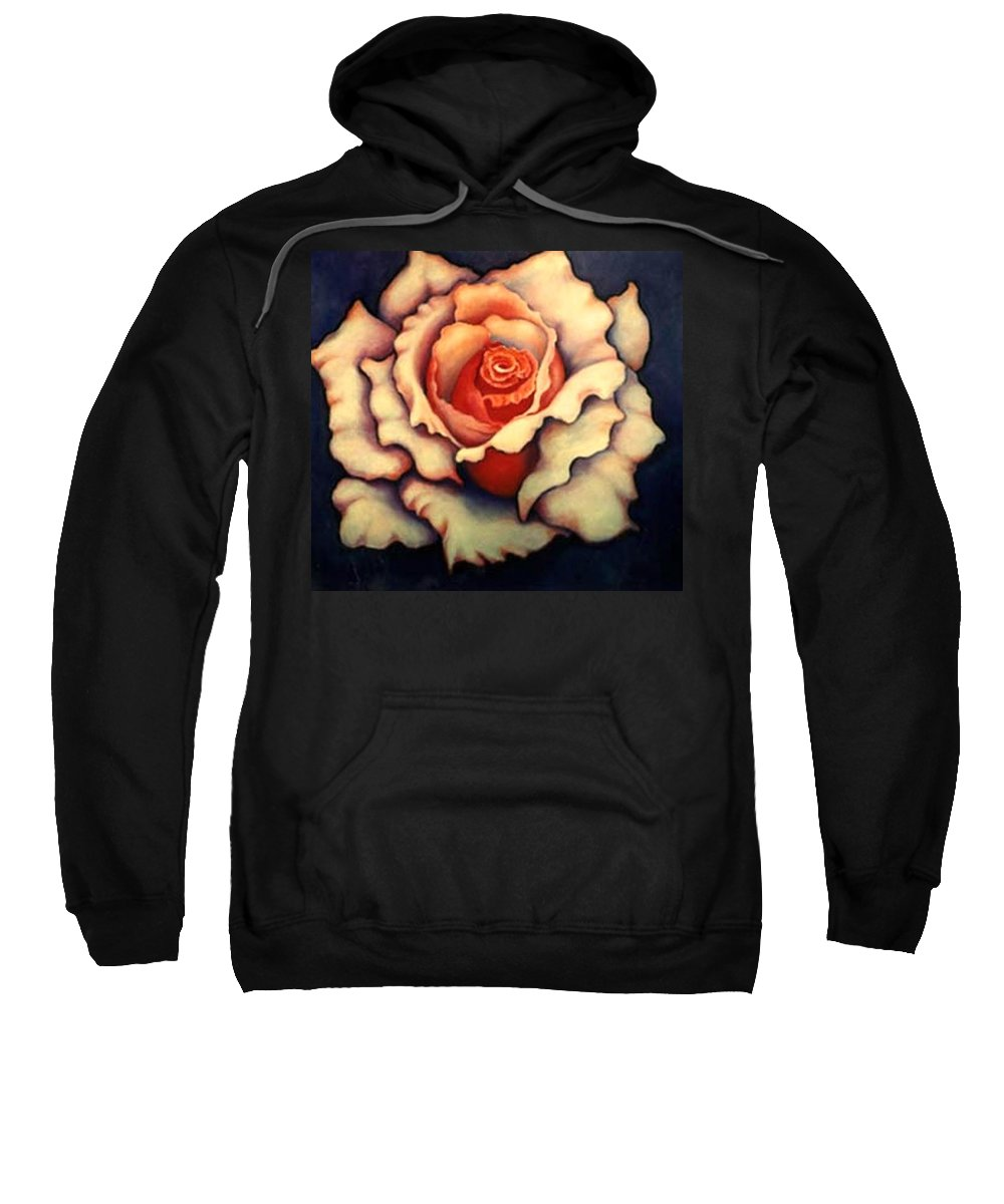 Flower Sweatshirt featuring the painting A Rose by Jordana Sands