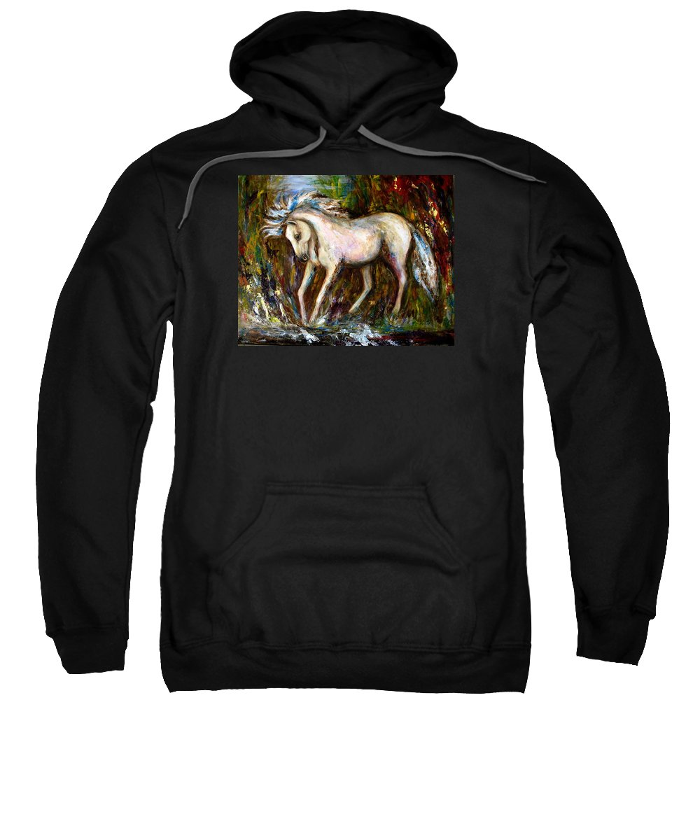 Horse Painting Sweatshirt featuring the painting A Secret Place White Hores Painting by Frances Gillotti