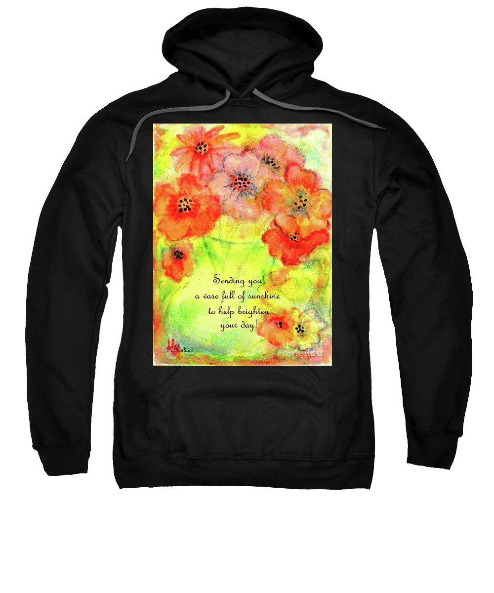 Green Glass Vase Of Orange And Pink Flowers Sweatshirt featuring the painting A Vaseful Of Sunshine by Hazel Holland