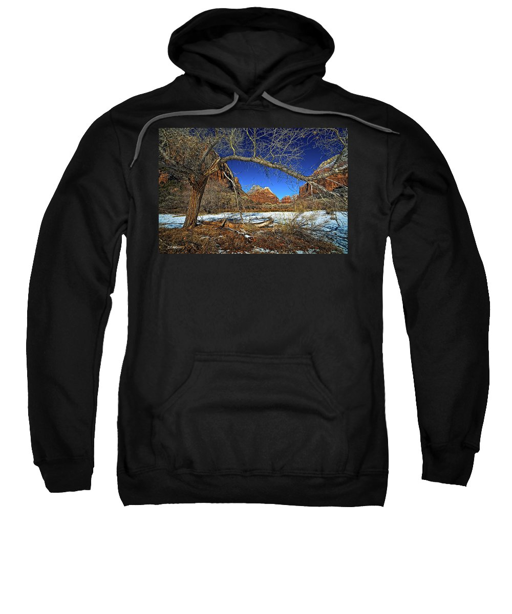 Zion Canyon Sweatshirt featuring the photograph A View In Zion by Christopher Holmes