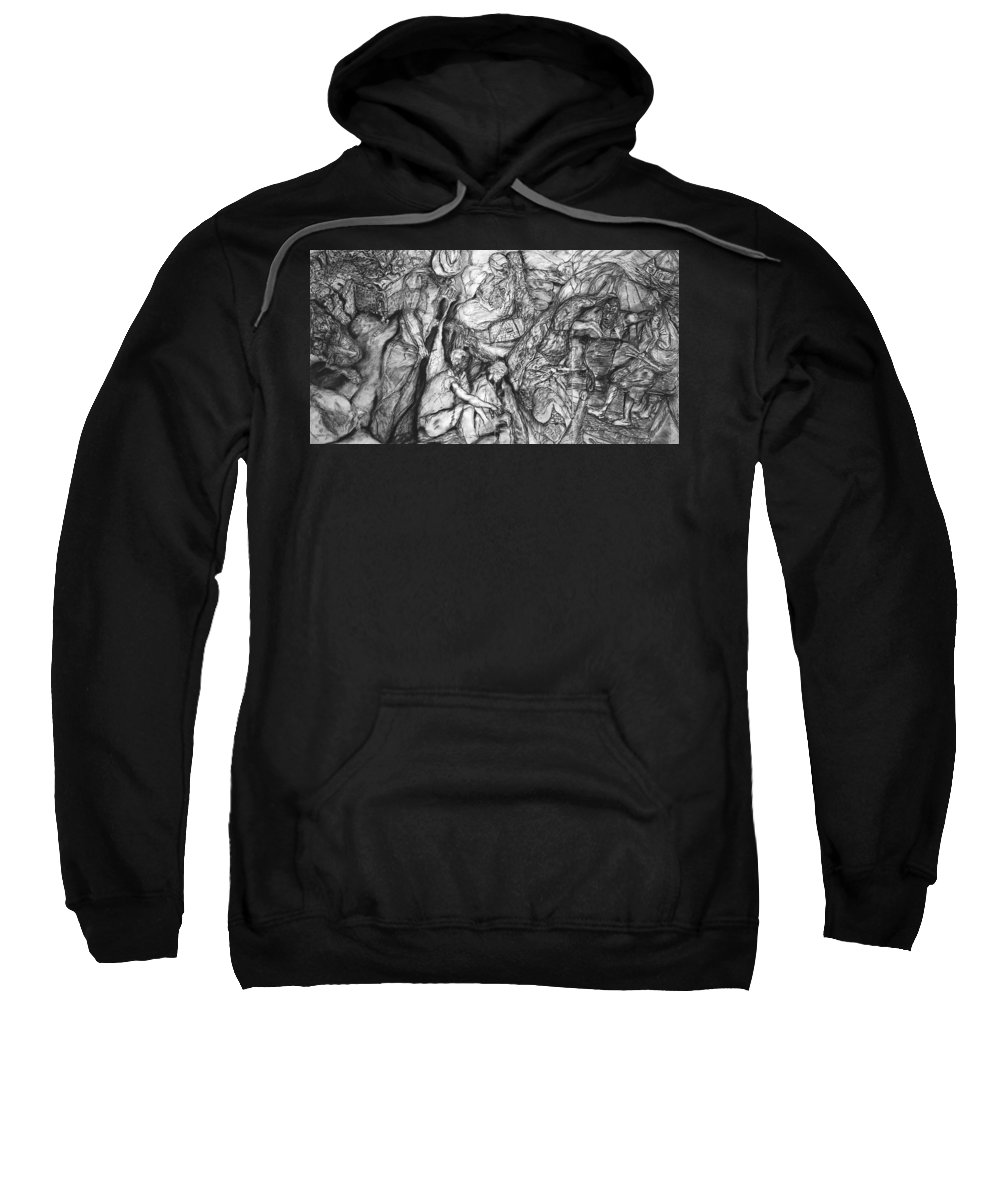Graphite; Ethnic; Spiritual; Fragmented Art;drawing Sweatshirt featuring the drawing A Village by Arlene Rabinowitz