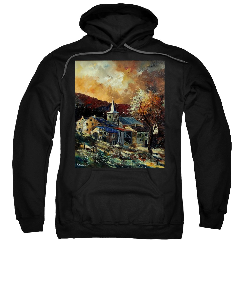 Tree Sweatshirt featuring the painting A Village In Autumn by Pol Ledent
