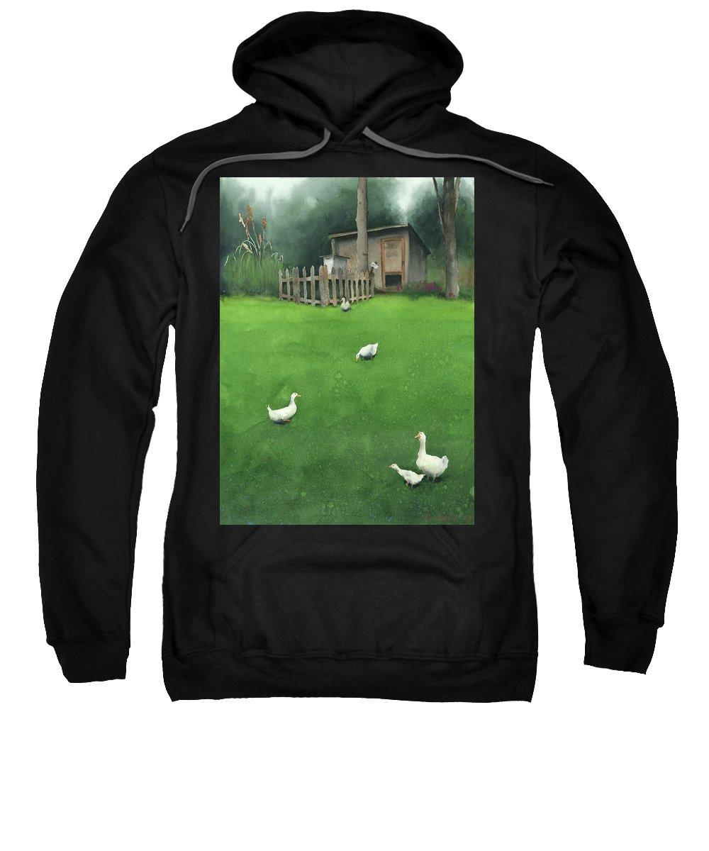 Watercolor Sweatshirt featuring the painting A Walk by Zapista Zapista