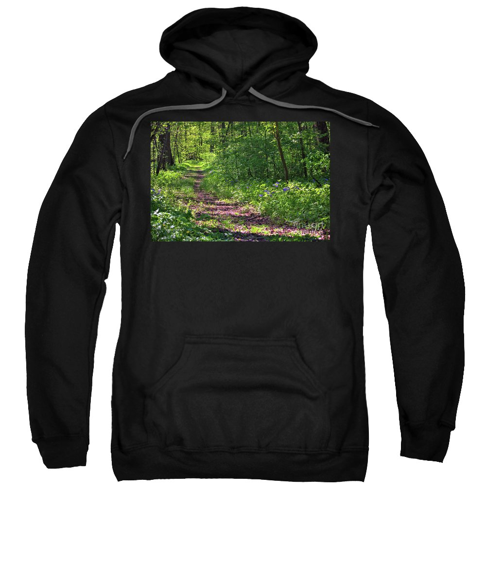 Trees Sweatshirt featuring the photograph A Walk Through The Bluebells by Laura Birr Brown