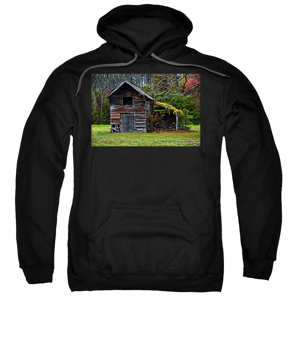Barn Sweatshirt featuring the photograph A Yellow Cover by Christopher Holmes