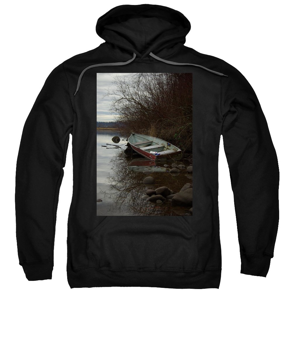 Abandoned Sweatshirt featuring the photograph Abandoned Boat by Cindy Johnston