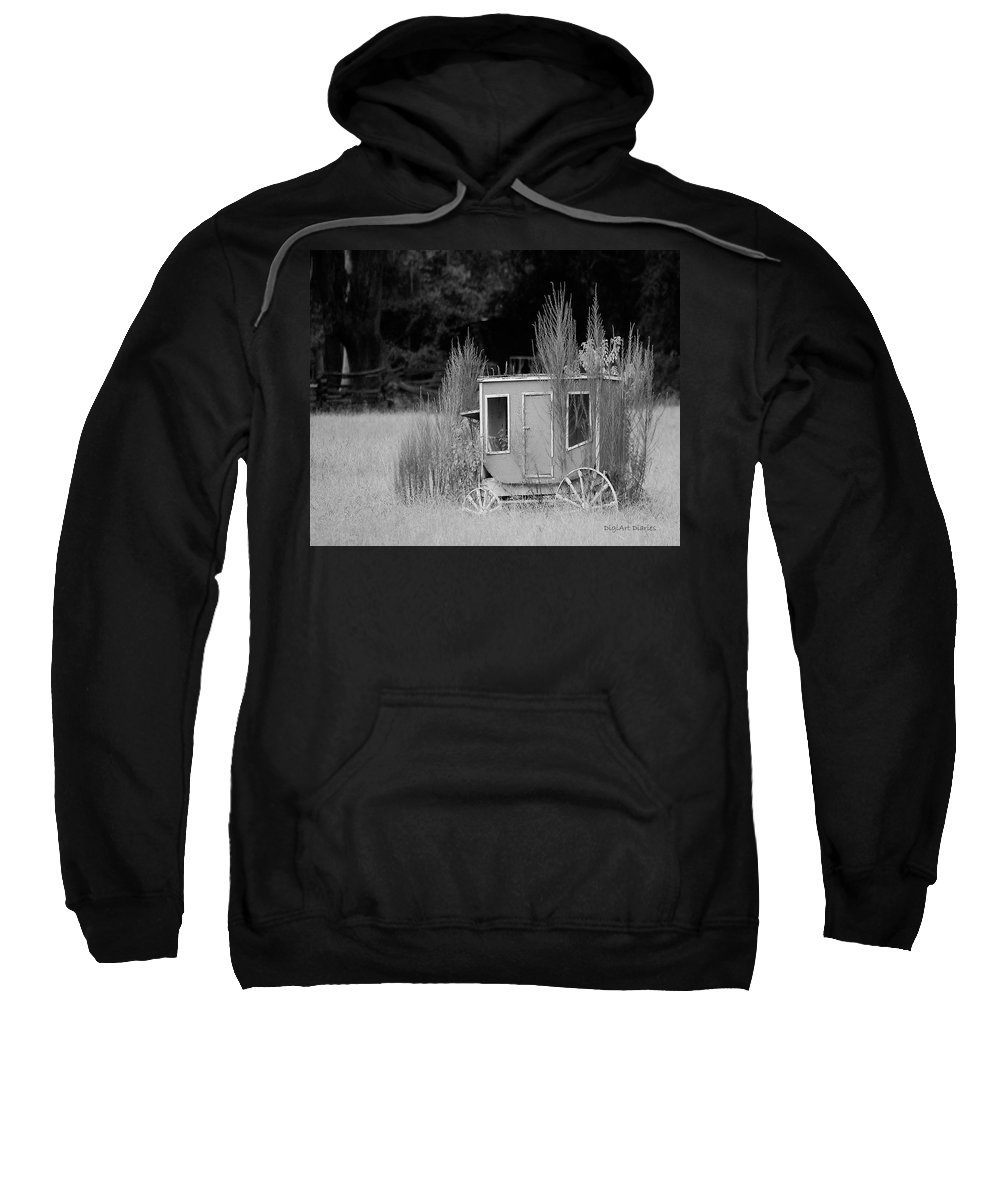 Carriage Sweatshirt featuring the digital art Abandoned In The Field Black And White by DigiArt Diaries by Vicky B Fuller