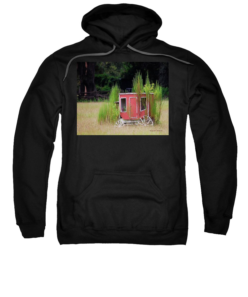 Carriage Sweatshirt featuring the digital art Abandoned In The Field by DigiArt Diaries by Vicky B Fuller