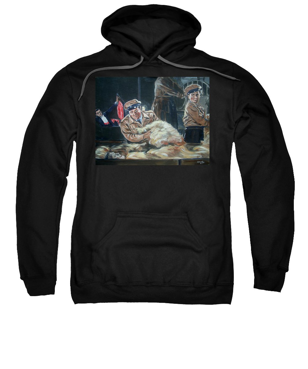 Comedy Sweatshirt featuring the painting Abbott And Costello Meet Frankenstein by Bryan Bustard