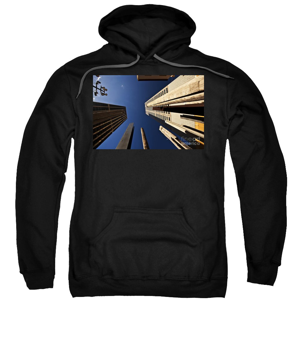 Australian Aboriginal Sound Poles Skyscrapers City Sweatshirt featuring the photograph Aboriginal Sound Poles by Sheila Smart Fine Art Photography