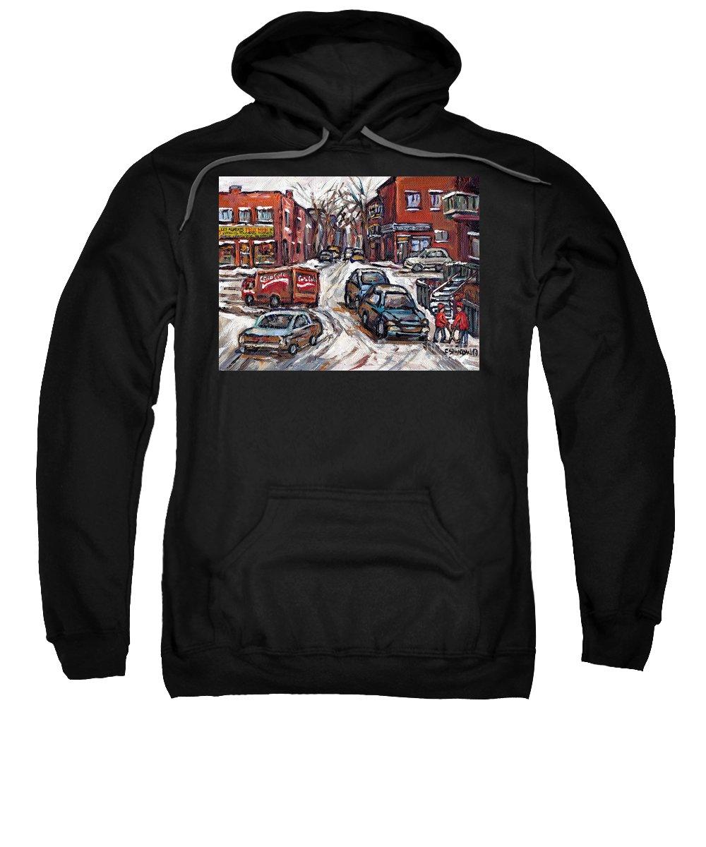 Original Montreal Paintings For Sale Sweatshirt featuring the painting Ville Emard En Peinture Scenes De Ville De Montreal En Hiver Petit Format A Vendre by Carole Spandau