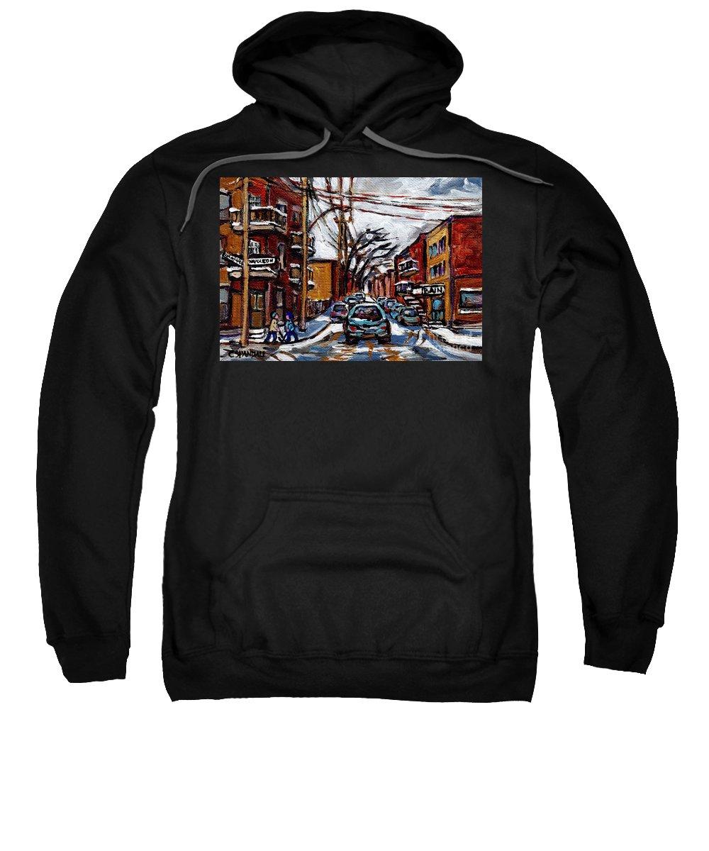 Canadian Artist Celebrates Montreal 375 Sweatshirt featuring the painting Plateau Mont Royal Scenes De Rue De Montreal En Hiver Rue Napoleon Petit Format A Vendre by Carole Spandau