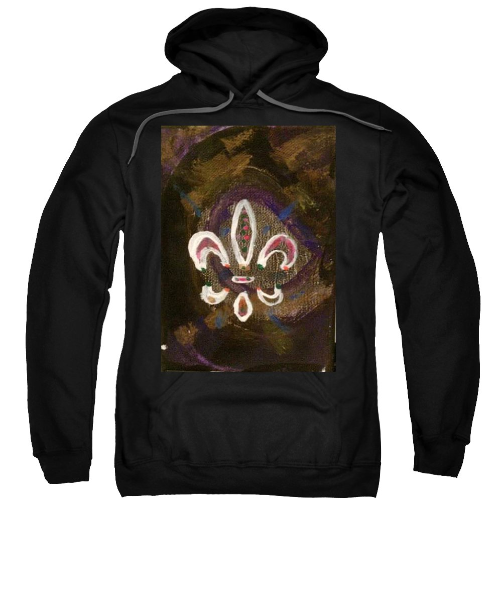Abstract Purple Black Accents White Pink Gold Fleur De Lis Symbol Sweatshirt featuring the painting Abstract Fleur De Lis by Kathy Watson