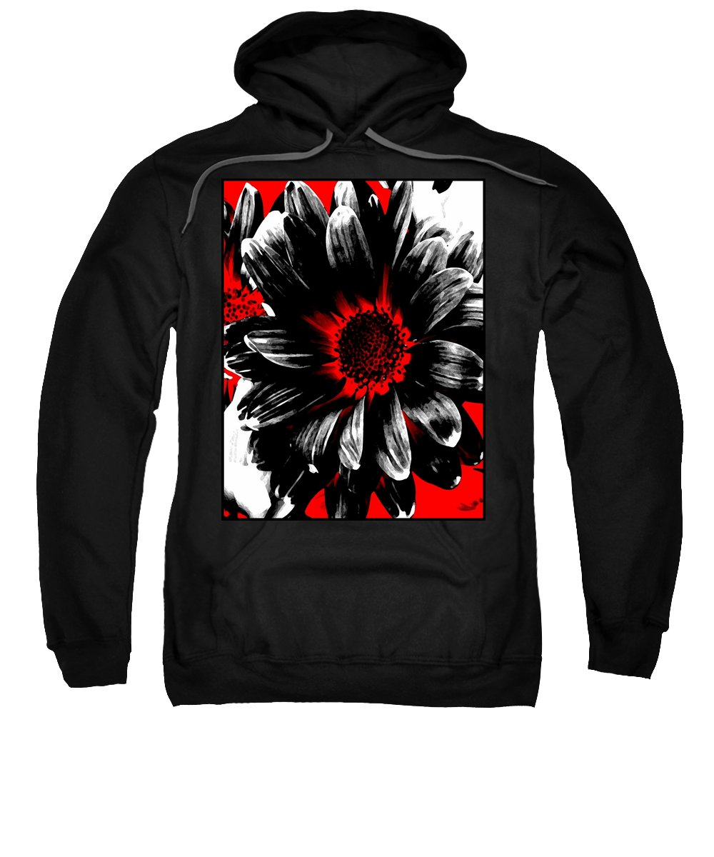 Abstract Sweatshirt featuring the photograph Abstract Red White And Black Daisy by Angelina Tamez