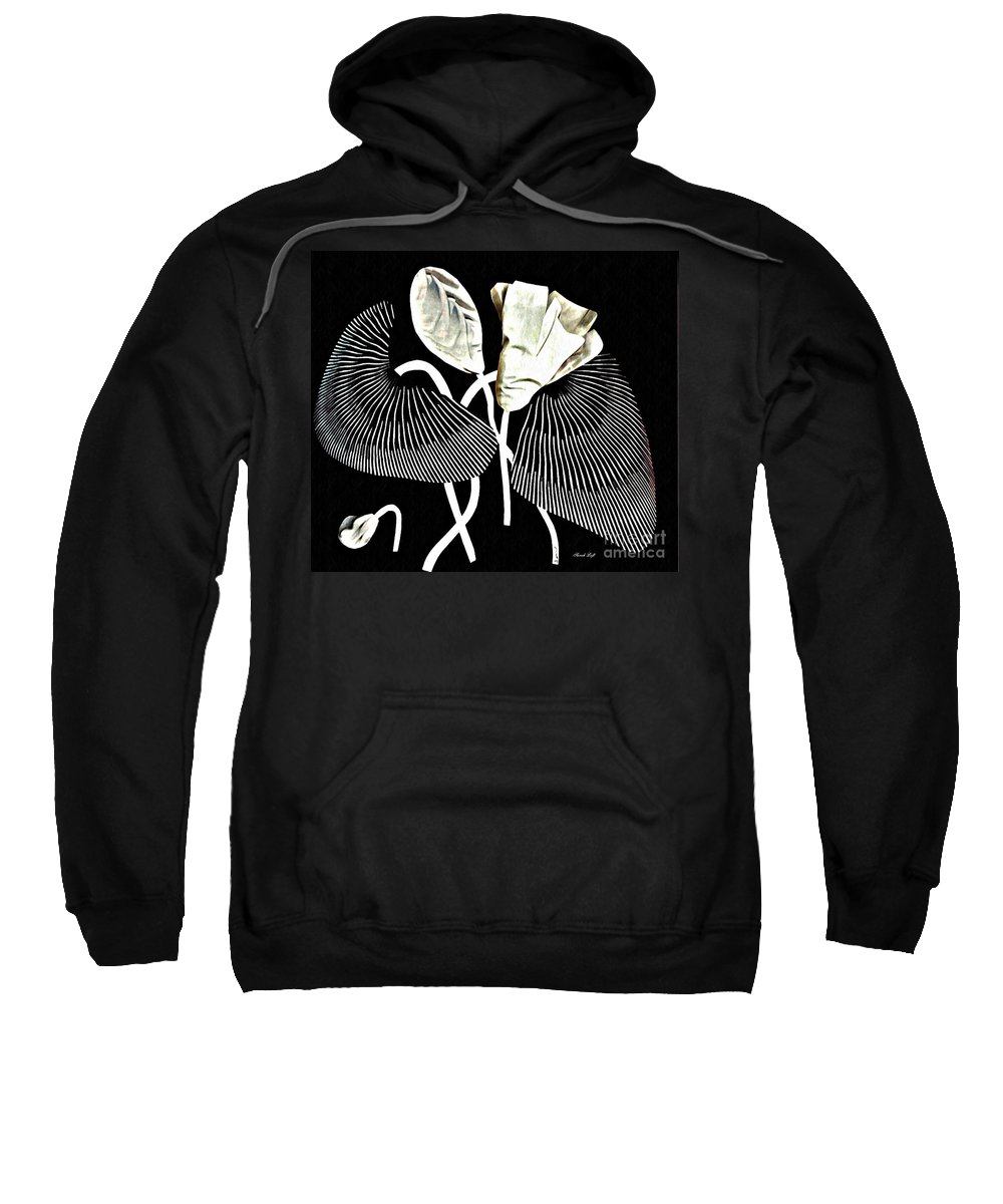 Floral Sweatshirt featuring the mixed media Accordion Leaf Flowers by Sarah Loft