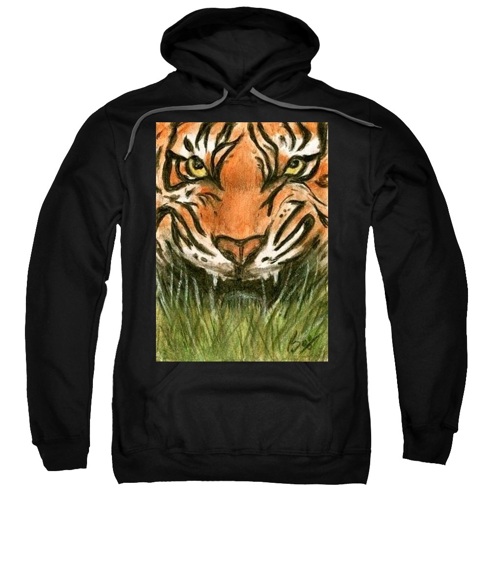 Tiger Animals Brucelennon Art Aceo Sweatshirt featuring the painting Aceo Tiger by Bruce Lennon