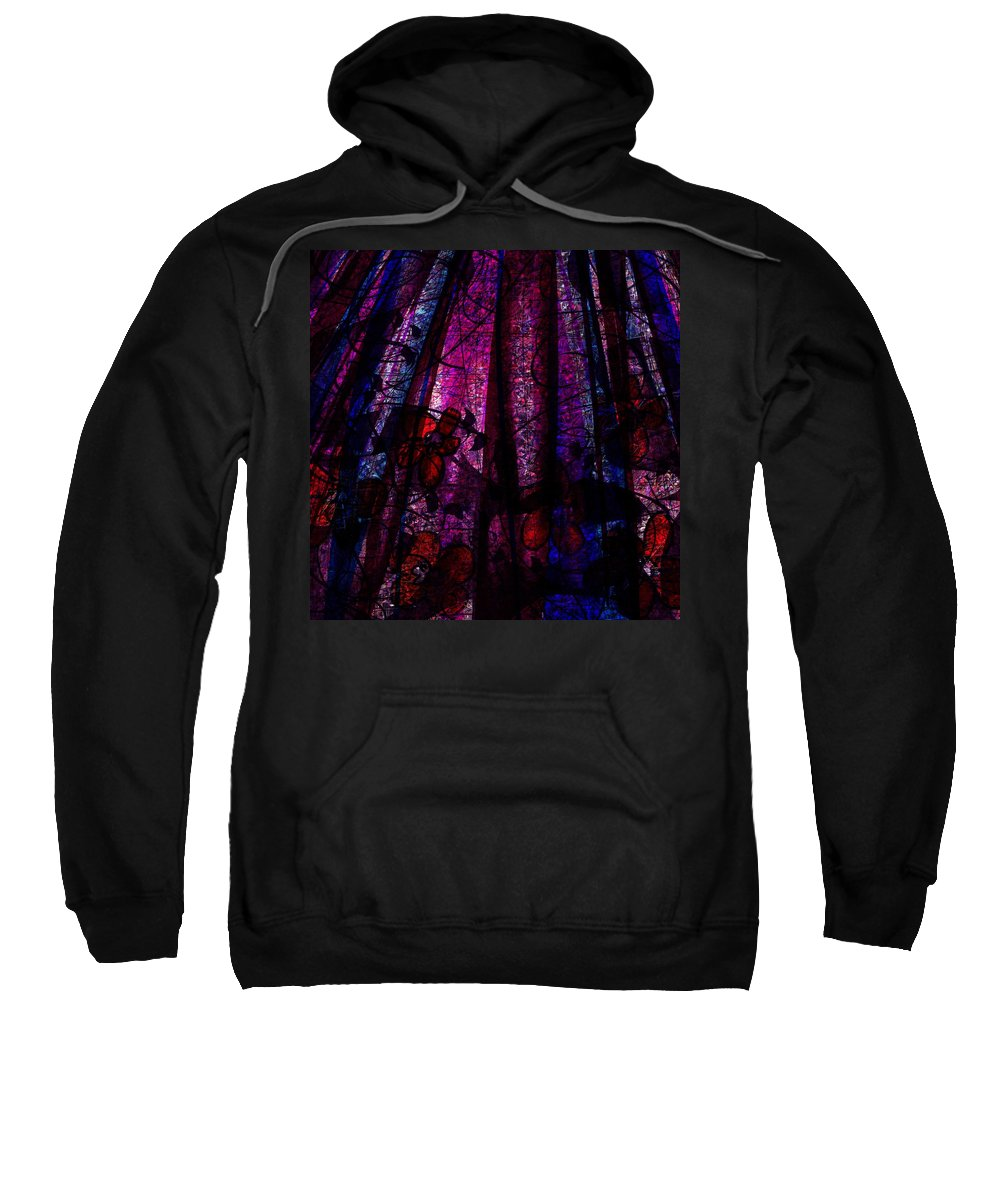 Abstract Sweatshirt featuring the digital art Acid Rain With Red Flowers by Rachel Christine Nowicki
