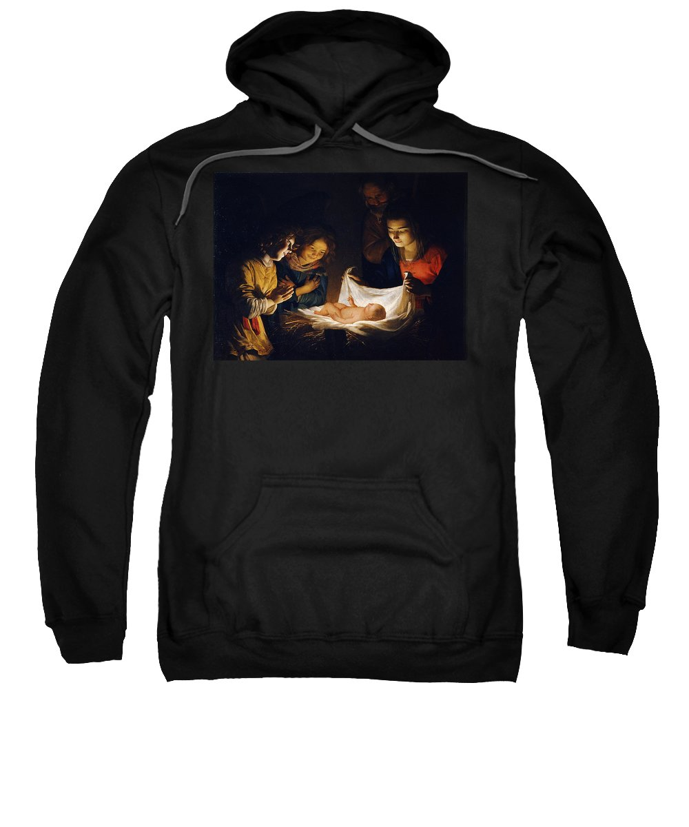 Gerrit Van Honthorst Sweatshirt featuring the painting Adoration Of The Child by Gerrit van Honthorst