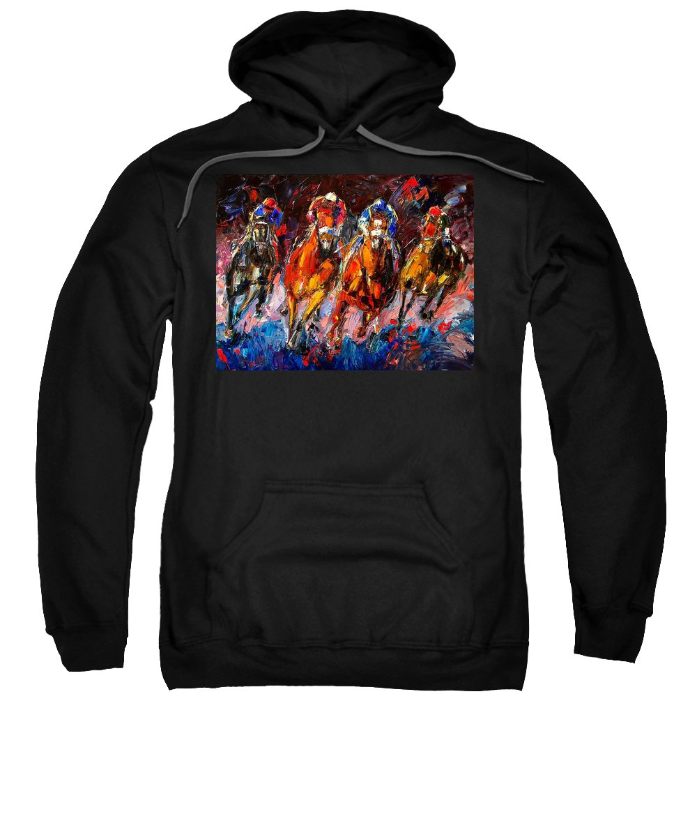 Horse Race Sweatshirt featuring the painting Adrenaline by Debra Hurd