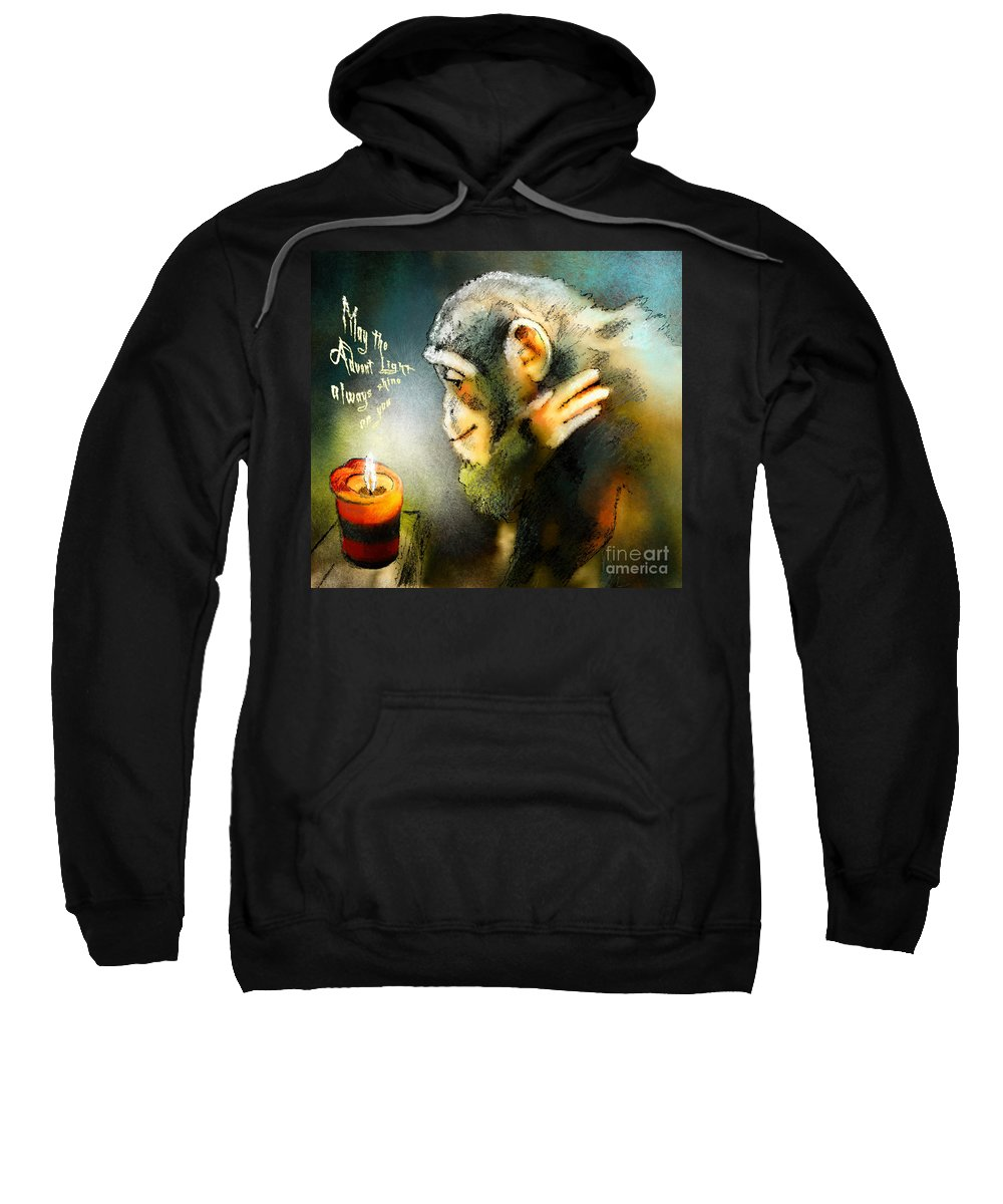 Advent Sweatshirt featuring the painting Advent Light by Miki De Goodaboom