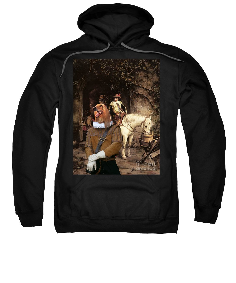 Afghan Hound Canvas Sweatshirt featuring the painting Afghan Hound-at The Tavern Canvas Fine Art Print by Sandra Sij