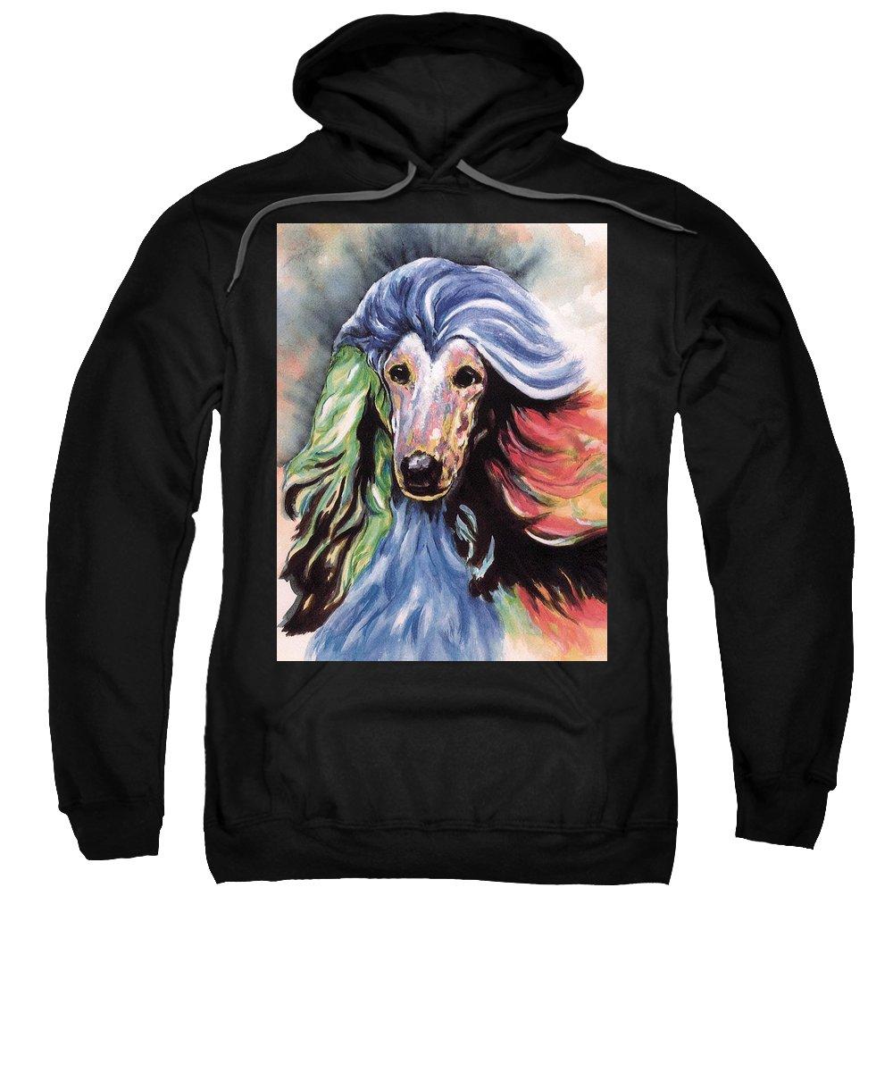 Afghan Hound Sweatshirt featuring the painting Afghan Storm by Kathleen Sepulveda