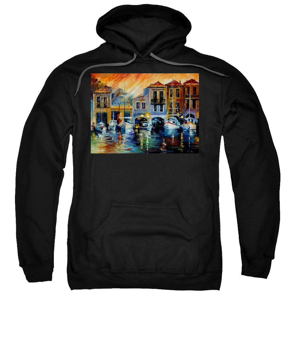 Afremov Sweatshirt featuring the painting After A Day's Work by Leonid Afremov