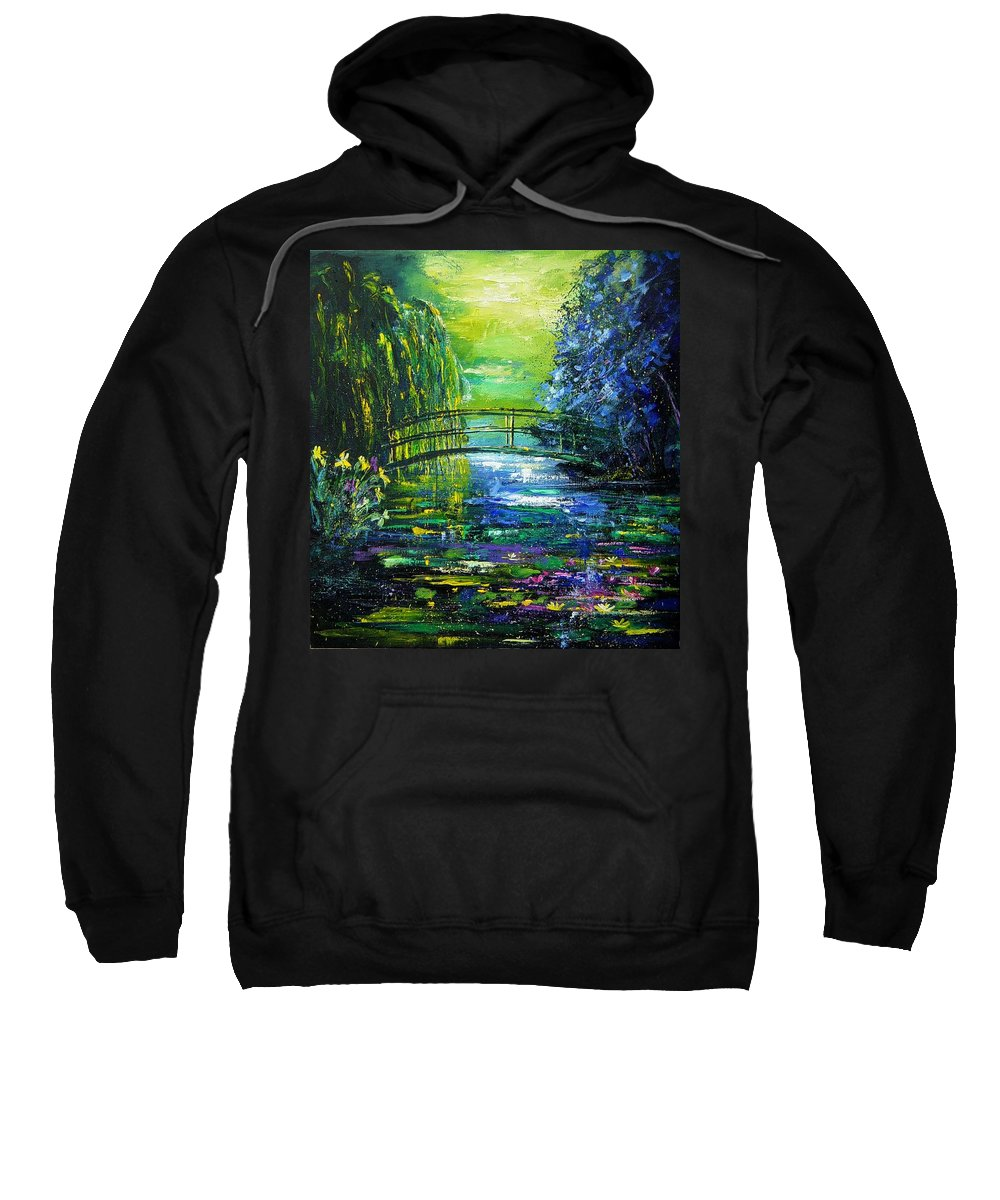 Pond Sweatshirt featuring the painting After Monet by Pol Ledent