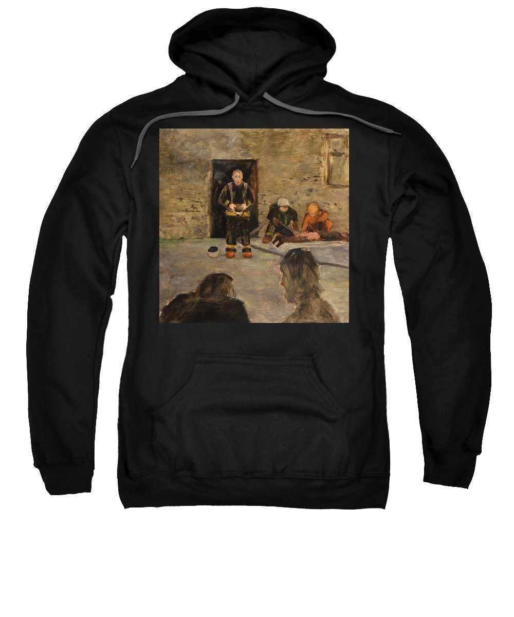 Fire Sweatshirt featuring the painting After The Fire by Oleg Konin
