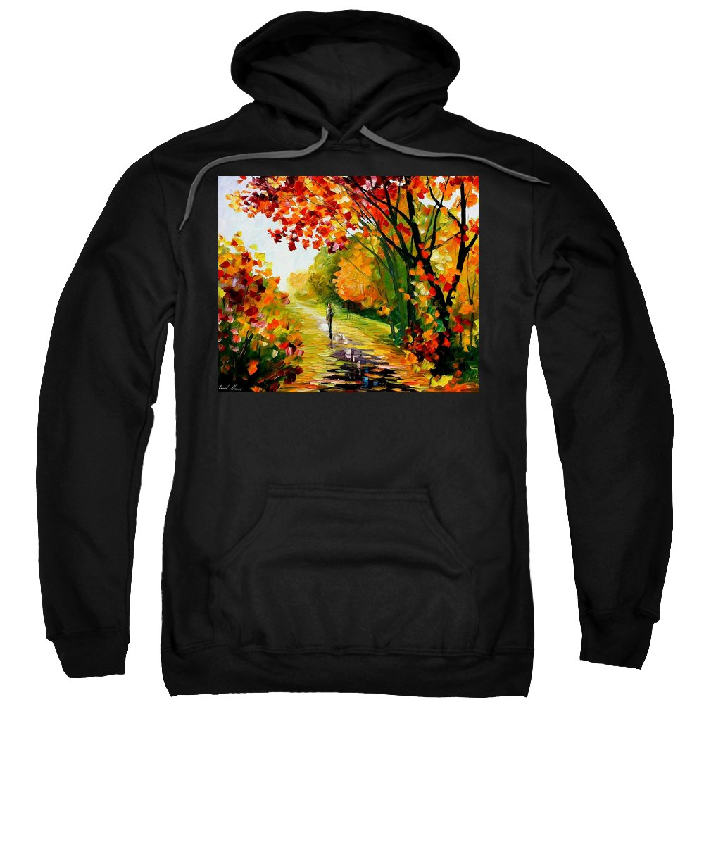 Afremov Sweatshirt featuring the painting After The Rain by Leonid Afremov