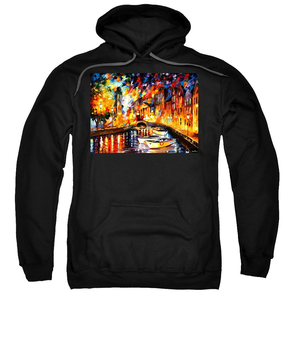 Afremov Sweatshirt featuring the painting After The River Turns by Leonid Afremov