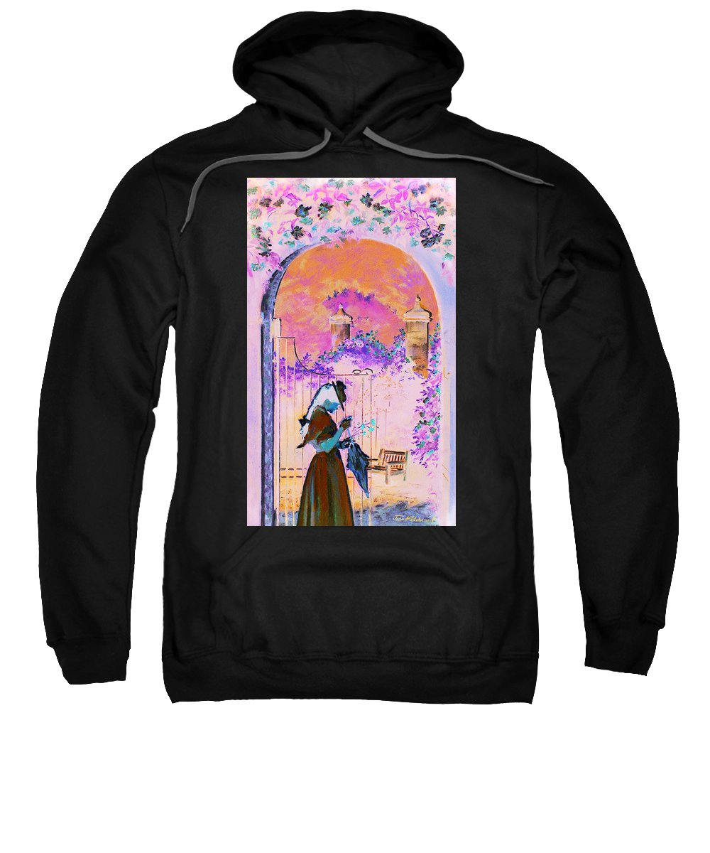Rose Sweatshirt featuring the painting Afternoon Stroll by Jean Hildebrant