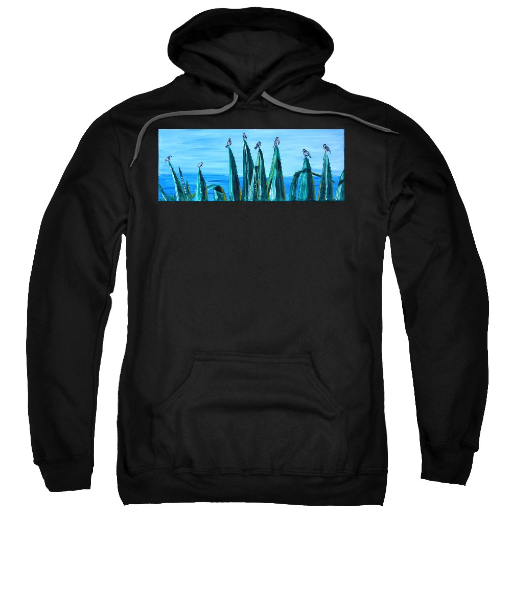 Landscape Sweatshirt featuring the painting Agave With Sparrows by Valerie Ornstein