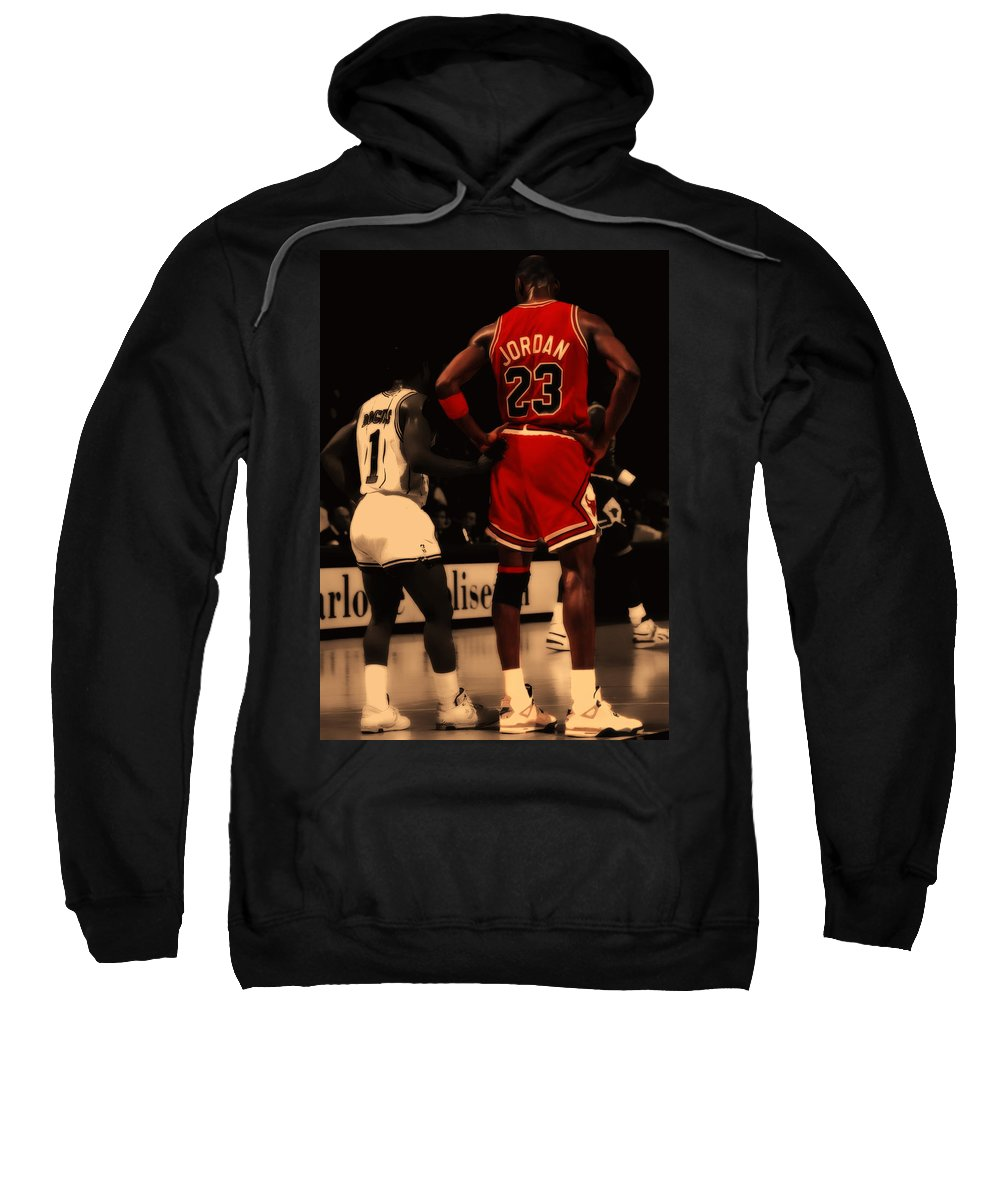 Michael Jordan Sweatshirt featuring the digital art Air Jordan And Muggsy  Bogues by Brian Reaves 4c63360bc