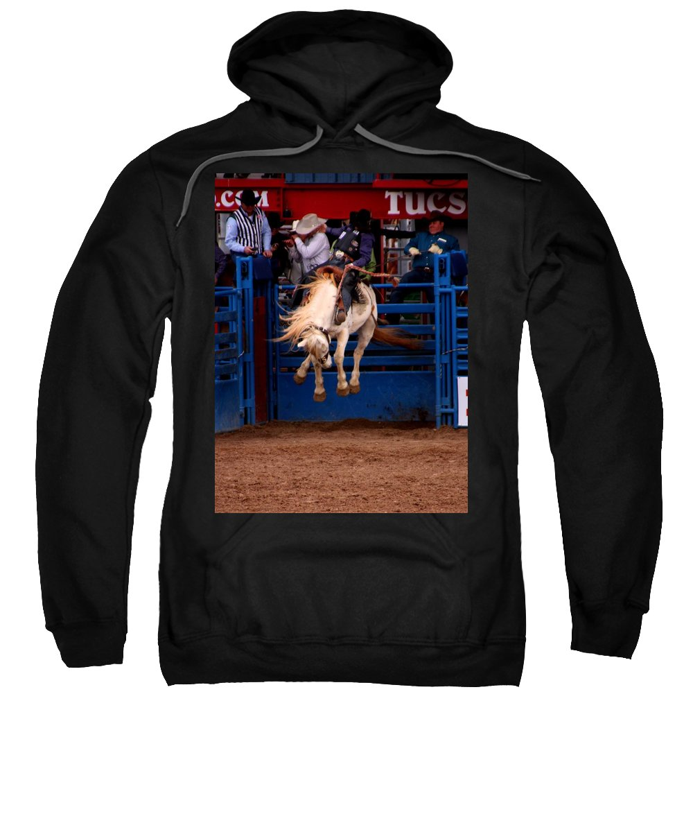 Rodeo. Rodeos Sweatshirt featuring the photograph Airborne by Joe Kozlowski
