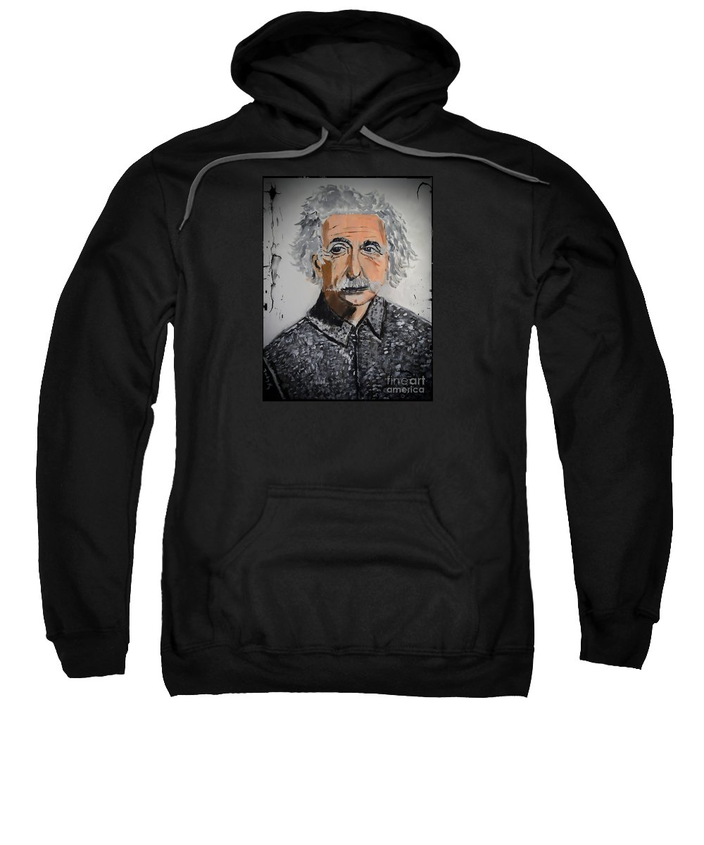 Einstein Sweatshirt featuring the painting Albert by Judy Kay