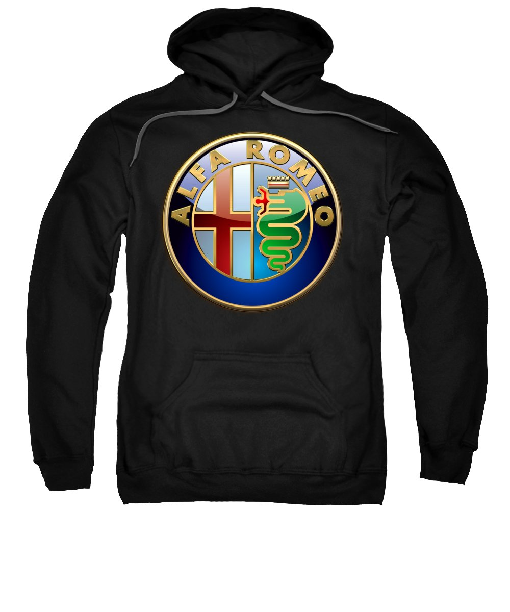 Wheels Of Fortune� Collection By Serge Averbukh Sweatshirt featuring the photograph Alfa Romeo - 3 D Badge On Black by Serge Averbukh