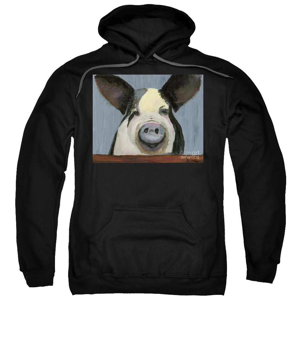 Pig Sweatshirt featuring the painting Alfred The Boar by Gloria Condon