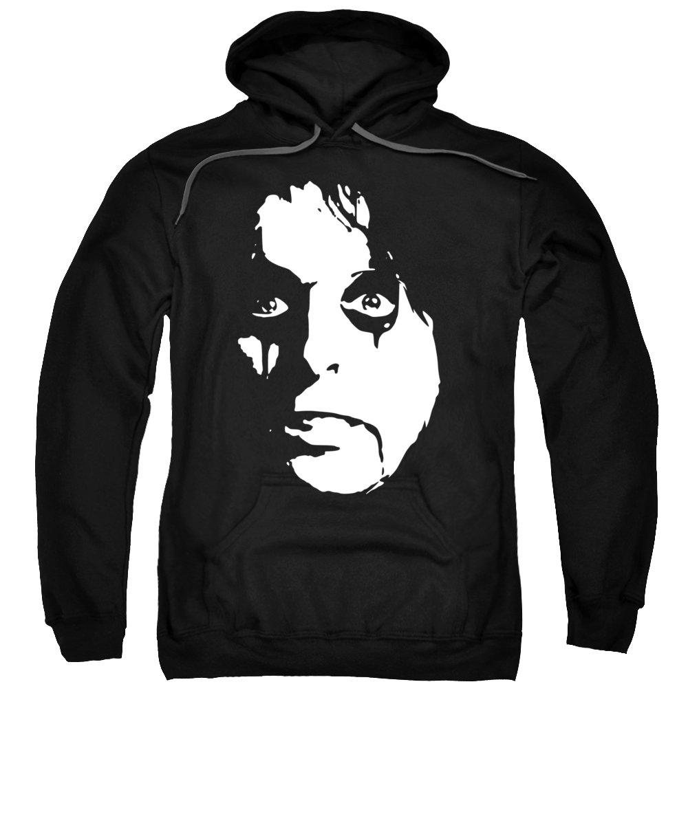 Rock Sweatshirt featuring the digital art Alice Cooper Pop Art by Filip Schpindel