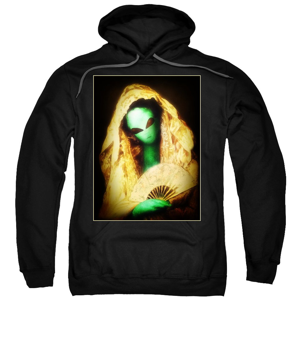 Cassatt Sweatshirt featuring the painting Alien Wearing Lace Mantilla by Gravityx9 Designs