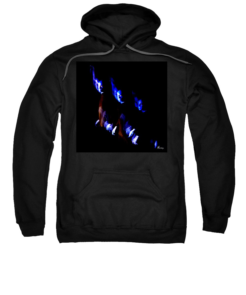 Traces Faces Aliens Another World Freaky Weird Abstract Watching Eerie Sweatshirt featuring the photograph Aliens At My Door by Andrea Lawrence