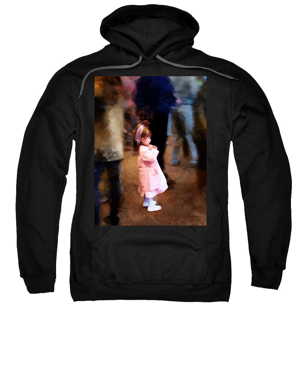 Girl Sweatshirt featuring the digital art All Alone In A Crowd by Francesa Miller