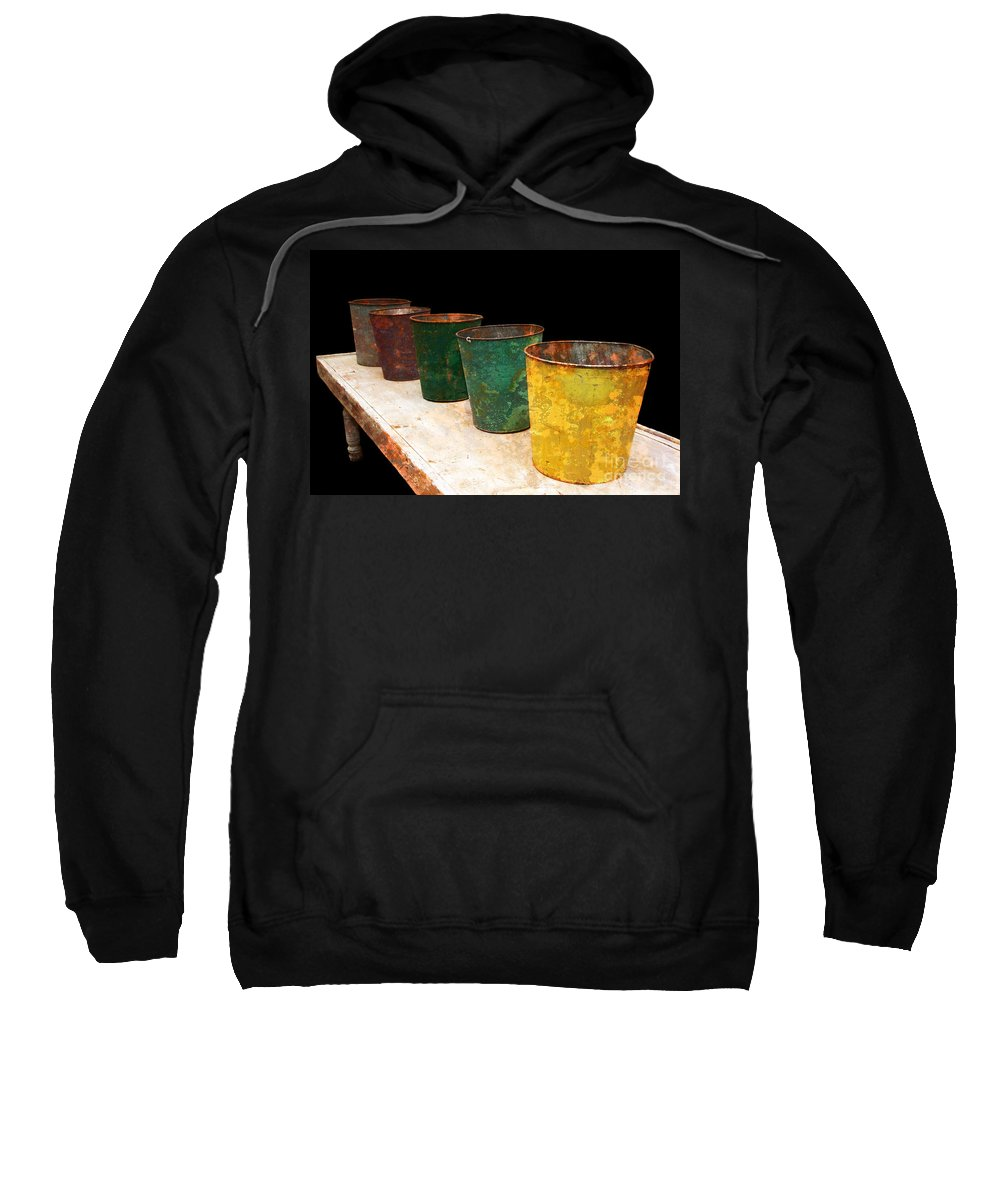 Bucket Sweatshirt featuring the photograph All In A Row by Lois Bryan