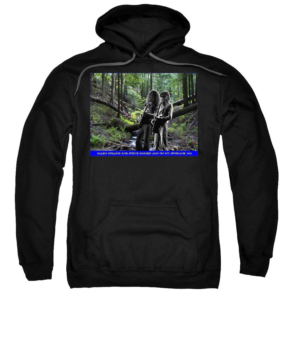 Allen Collins Sweatshirt featuring the photograph Allen And Steve On Mt. Spokane by Ben Upham