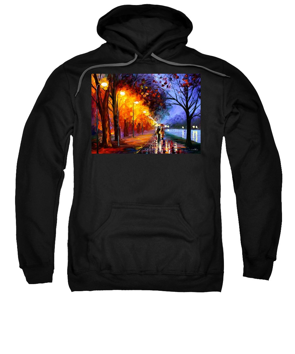 Afremov Sweatshirt featuring the painting Alley By The Lake by Leonid Afremov