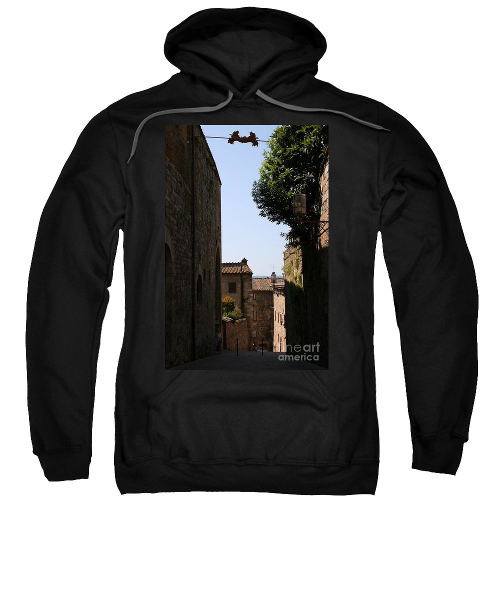 Alleyway Sweatshirt featuring the photograph Alleyway In San Gimignano by Christiane Schulze Art And Photography