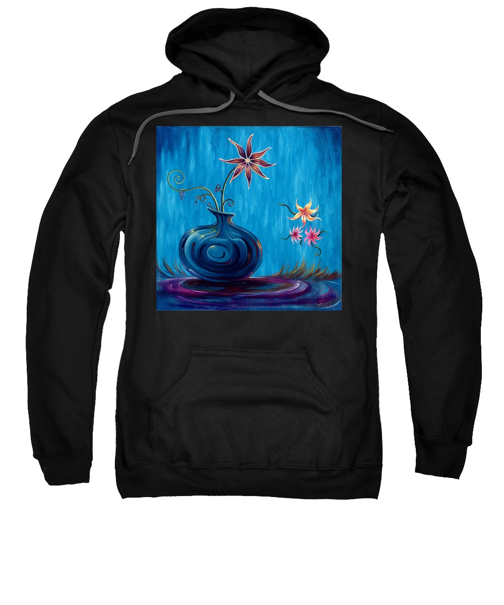 Fantasy Floral Scape Sweatshirt featuring the painting Aloha Rain by Jennifer McDuffie